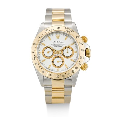 ROLEX  |  COSMOGRAPH DAYTONA, REFERENCE 16523,  A STAINLESS STEEL AND YELLOW GOLD CHRONOGRAPH WRISTWATCH WITH BRACELET, CIRCA 1995