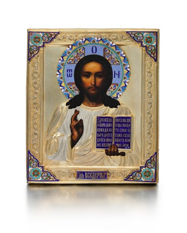 View 1. Thumbnail of Lot 221. A SILVER-GILT AND CLOISONNÉ ENAMEL ICON OF CHRIST PANTOCRATOR, SEMYON GALKIN, MOSCOW, CIRCA 1901.