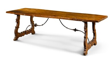 View 2. Thumbnail of Lot 11. A Spanish Baroque walnut trestle table, 17th century.