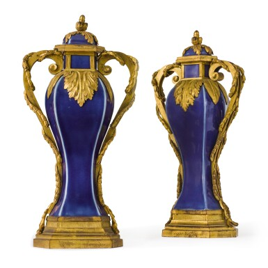 View 2. Thumbnail of Lot 126. A pair of Louis XVI gilt-bronze mounted Chinese blue porcelain baluster vases, the mounts circa 1780, the porcelain Qing dynasty, Qianlong (1736-1795).