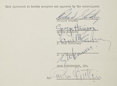 View 3. Thumbnail of Lot 104. THE BEATLES | Archive related to taxation of thefirst Beatles tour of the United States,containing three full band signatures, andone signature fromBrian Epstein, 1964.