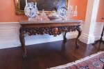 AN IRISH GEORGE IV WALNUT MARBLE TOP TABLE, EARLY 19TH CENTURY