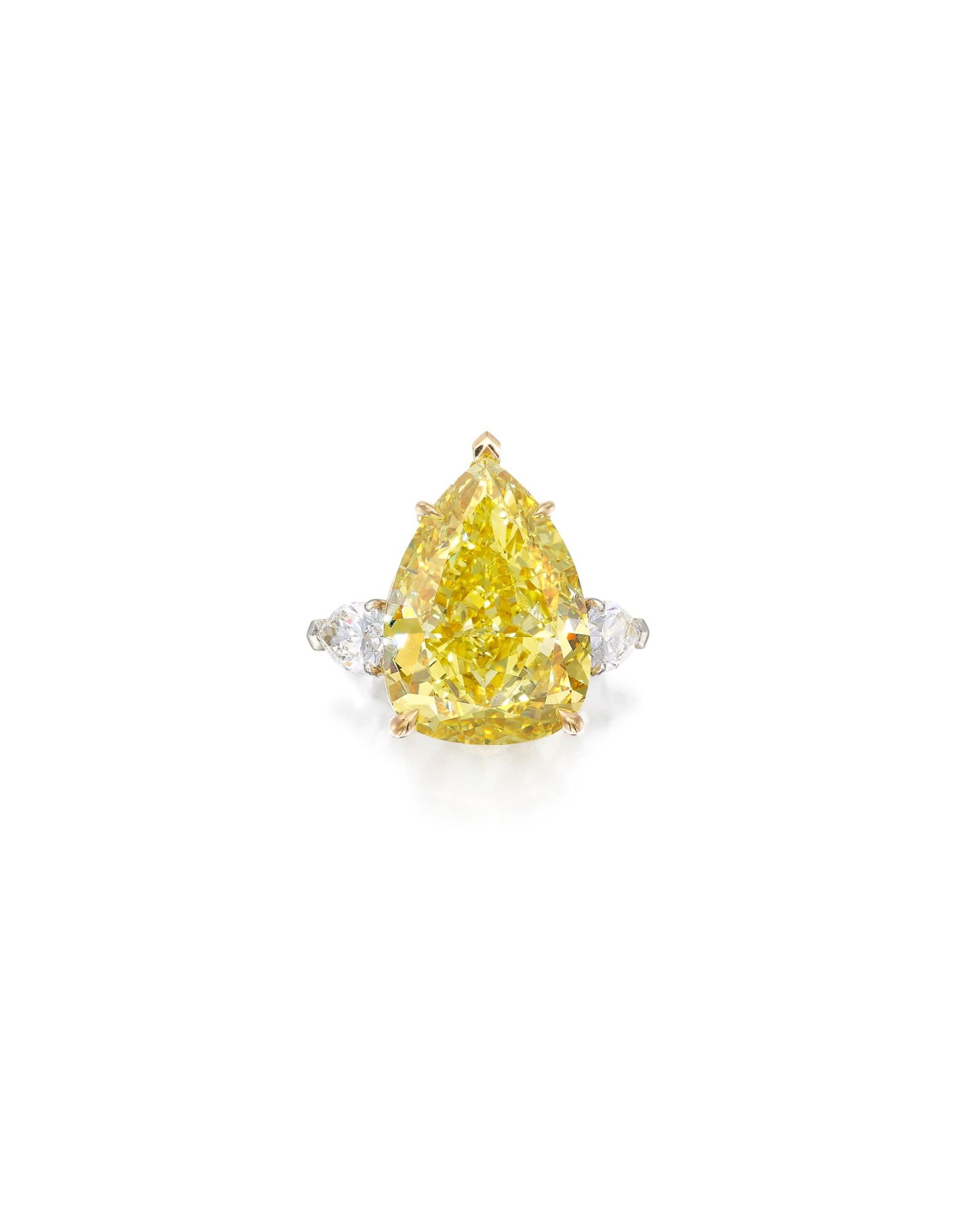 View full screen - View 1 of Lot 1721. FANCY VIVID YELLOW DIAMOND AND DIAMOND RING   23.54卡拉 艷彩黃色鑽石 配 鑽石 戒指.