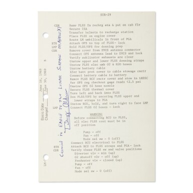 [APOLLO 11]. LUNAR SURFACE FLOWN, APOLLO 11 CHECKLIST SHEET USED ON THE LUNAR SURFACE, SIGNED & INSCRIBED BY BUZZ ALDRIN