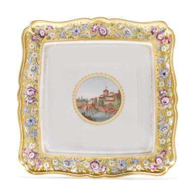 A SQUARE PORCELAIN DISH FROM THE CABINET SERVICE, IMPERIAL PORCELAIN FACTORY, ST PETERSBURG, CIRCA 1800