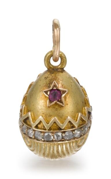 View 1. Thumbnail of Lot 62. A Fabergé jewelled gold egg pendant, workmaster Erik Kollin, St Petersburg, circa 1900.