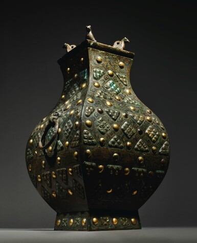 View 6. Thumbnail of Lot 578. AN EXCEPTIONALLY RARE AND IMPORTANT GOLD, SILVER AND GLASS-EMBELLISHED BRONZE VESSEL (FANG HU),  WARRING STATES PERIOD, 4TH / 3RD CENTURY BC.