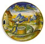 AN ITALIAN MAIOLICA ISTORIATO BOWL, CIRCA 1570, ATTRIBUTED TO MAESTRO DOMENEGO DA VENEZIA