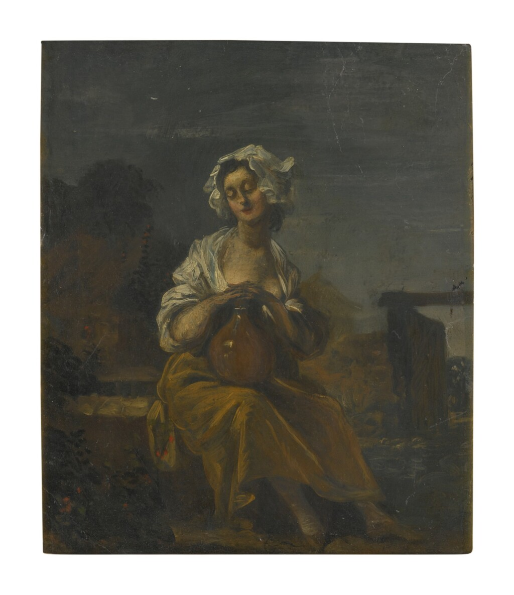 SPANISH SCHOOL, 18TH CENTURY   A YOUNG WASHERWOMAN IN A LANDSCAPE