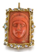 ITALIAN, SICILY, 17TH CENTURY   Pendant with Relief Heads of Christ and the Virgin