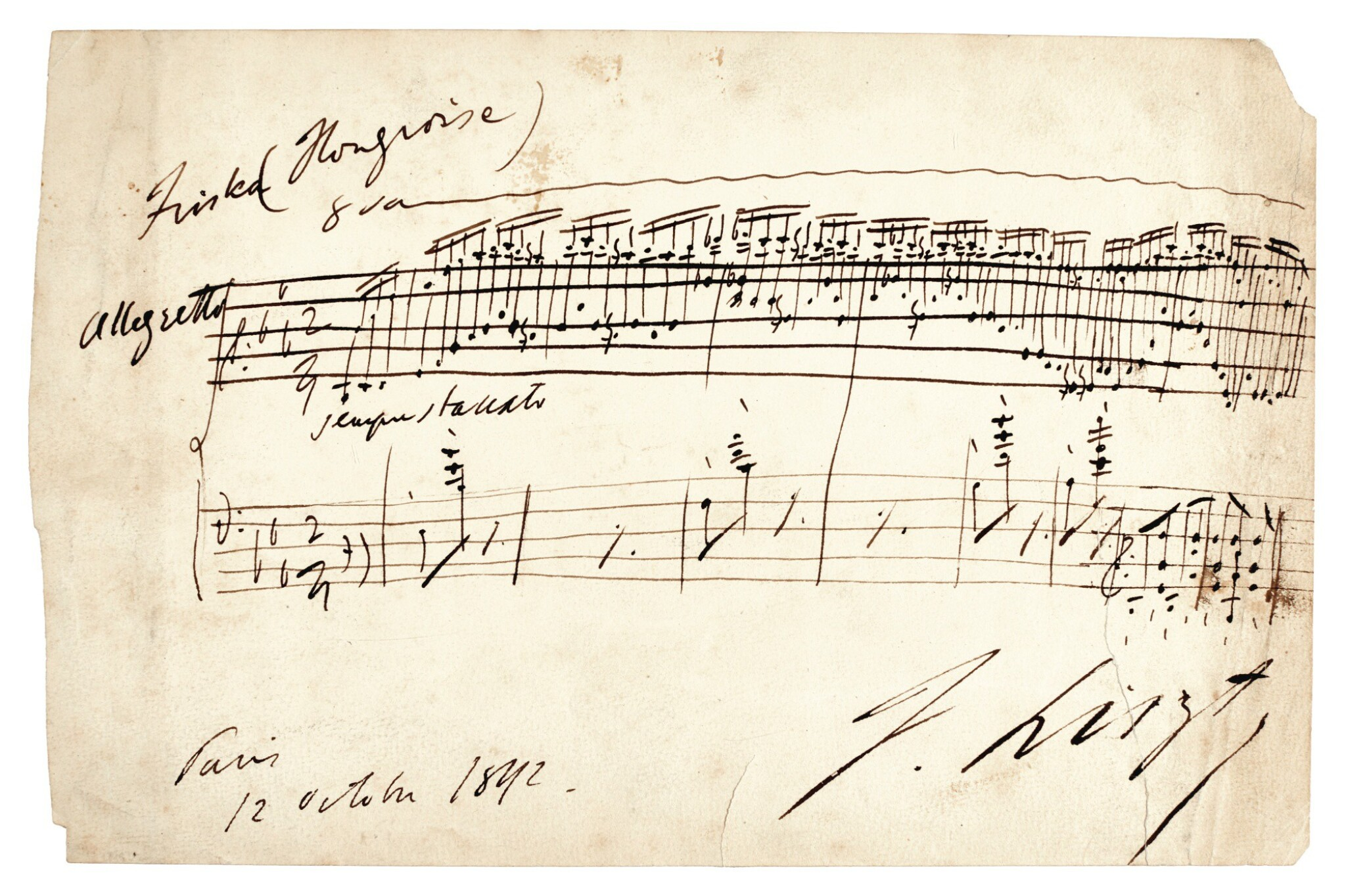 """View full screen - View 1 of Lot 50. F. Liszt. Autograph musical quotation from """"Magyar dallok"""" no.7, S.242/7, signed, 12 October 1842."""
