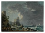 A storm off a rocky coast, with a shipwreck in the foreground and a fort on the rocky shoreline above