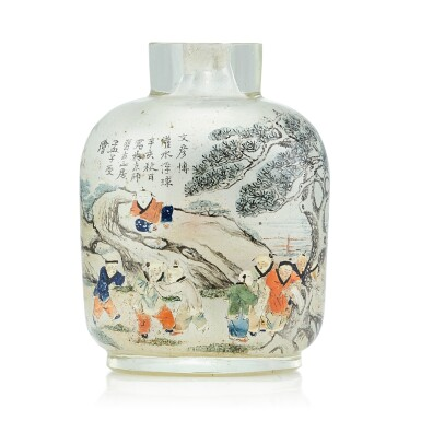 View 2. Thumbnail of Lot 3034. An Inscribed Inside-Painted Glass 'Wen Yanbo' Snuff Bottle By Meng Zishou, Dated Xinhai Year, Corresponding to 1911 | 辛亥(1911年) 孟子受作玻璃內畫文彥博灌水浮球圖鼻煙壺.
