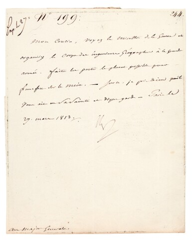 """View 1. Thumbnail of Lot 89. NAPOLEON I   letter signed, to Marshal Berthier """"Mon Cousin"""", 27 March 1813."""
