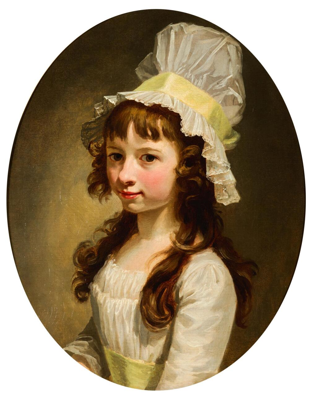 FRENCH SCHOOL, CIRCA 1800 | A portrait of a young girl, bust length, in a white dress and bonnet