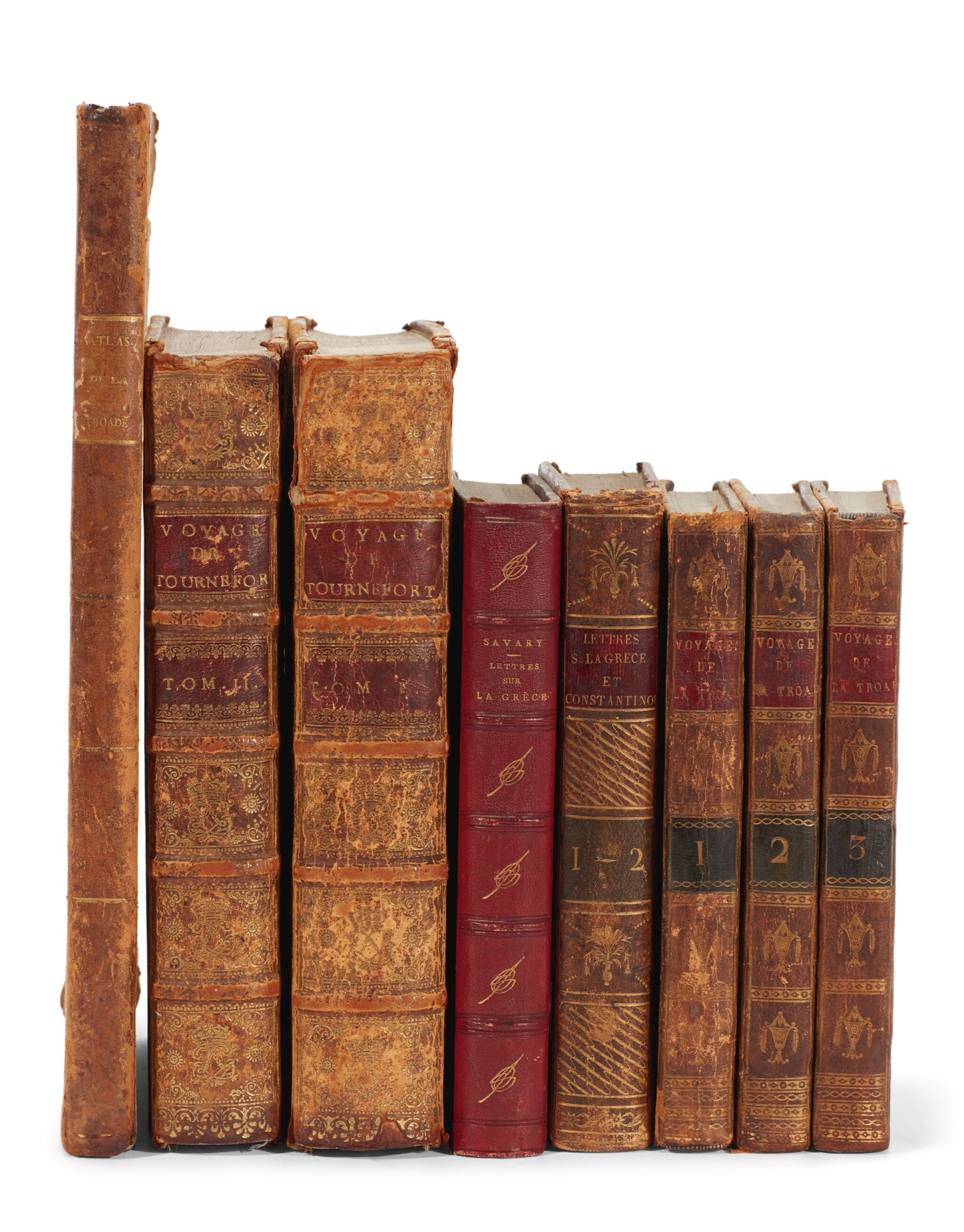 View full screen - View 1 of Lot 210. Turkey and Greece   In French, 8 volumes, Tournefort Le Chevalier, Savary, Volney, and Castellan.