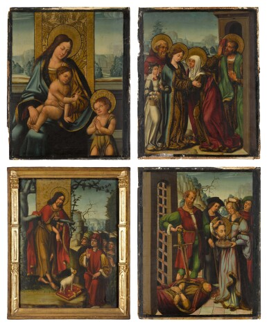 View 3. Thumbnail of Lot 26. ANTONIO VÁZQUEZ  | FOUR PANELS FROM AN ALTARPIECE WITH EPISODES FROM THE LIFE OF ST JOHN THE BAPTIST: THE VIRGIN AND CHILD WITH THE INFANT ST JOHN; THE PREACHING OF ST JOHN THE BAPTIST; THE VISITATION; SALOME WITH THE HEAD OF ST JOHN THE BAPTIST.