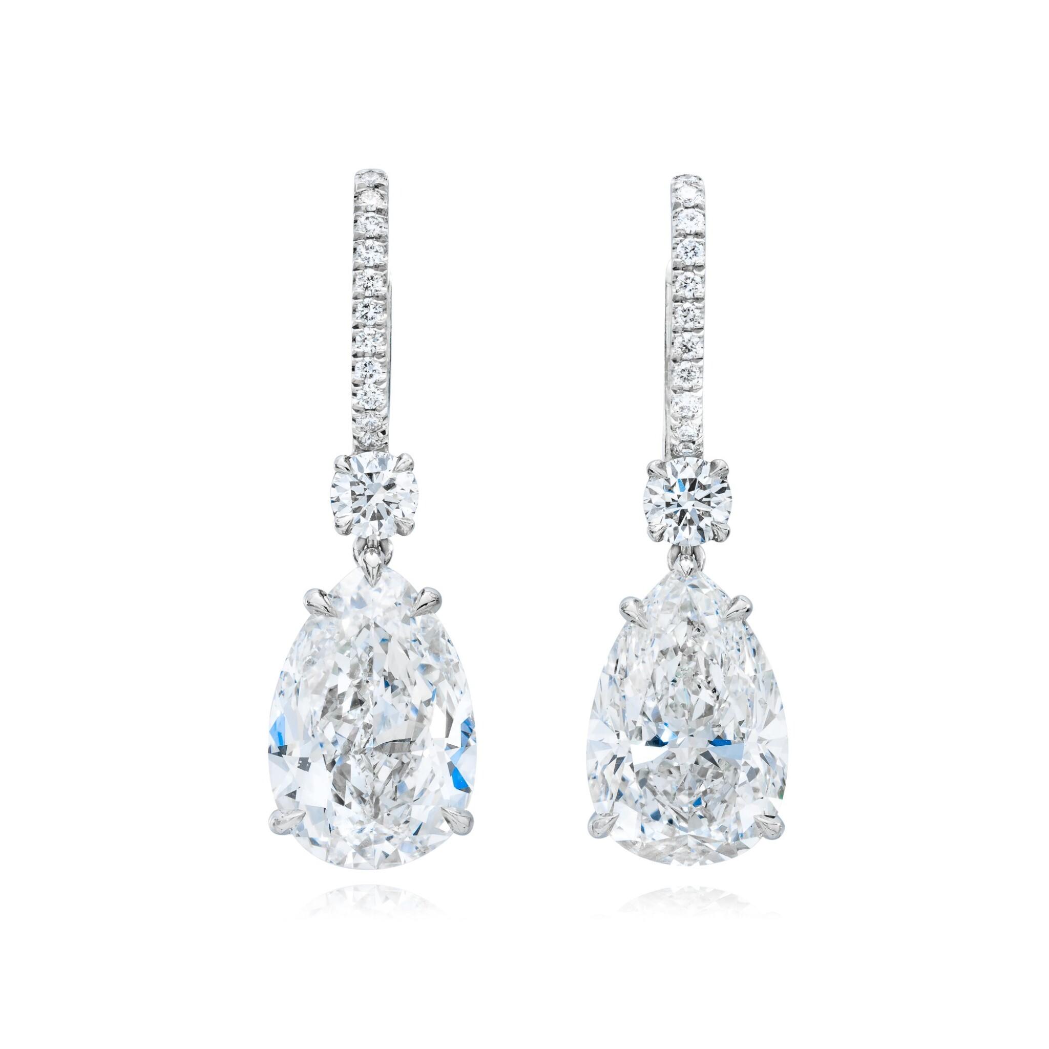 View full screen - View 1 of Lot 16. Pair of Diamond Earrings.