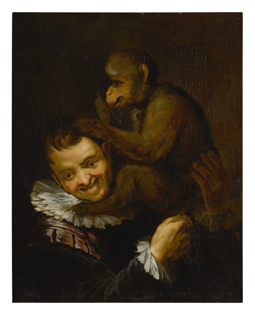 FOLLOWER OF ANNIBALE CARRACCI   MAN WITH A MONKEY ON HIS SHOULDER