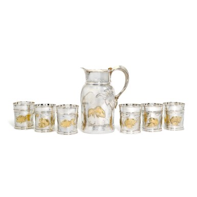 View 1. Thumbnail of Lot 3. 'Drinks like a Fish': a parcel-gilt silver jug or pitcher and six beakers, Lukes & Co., London, 2010.
