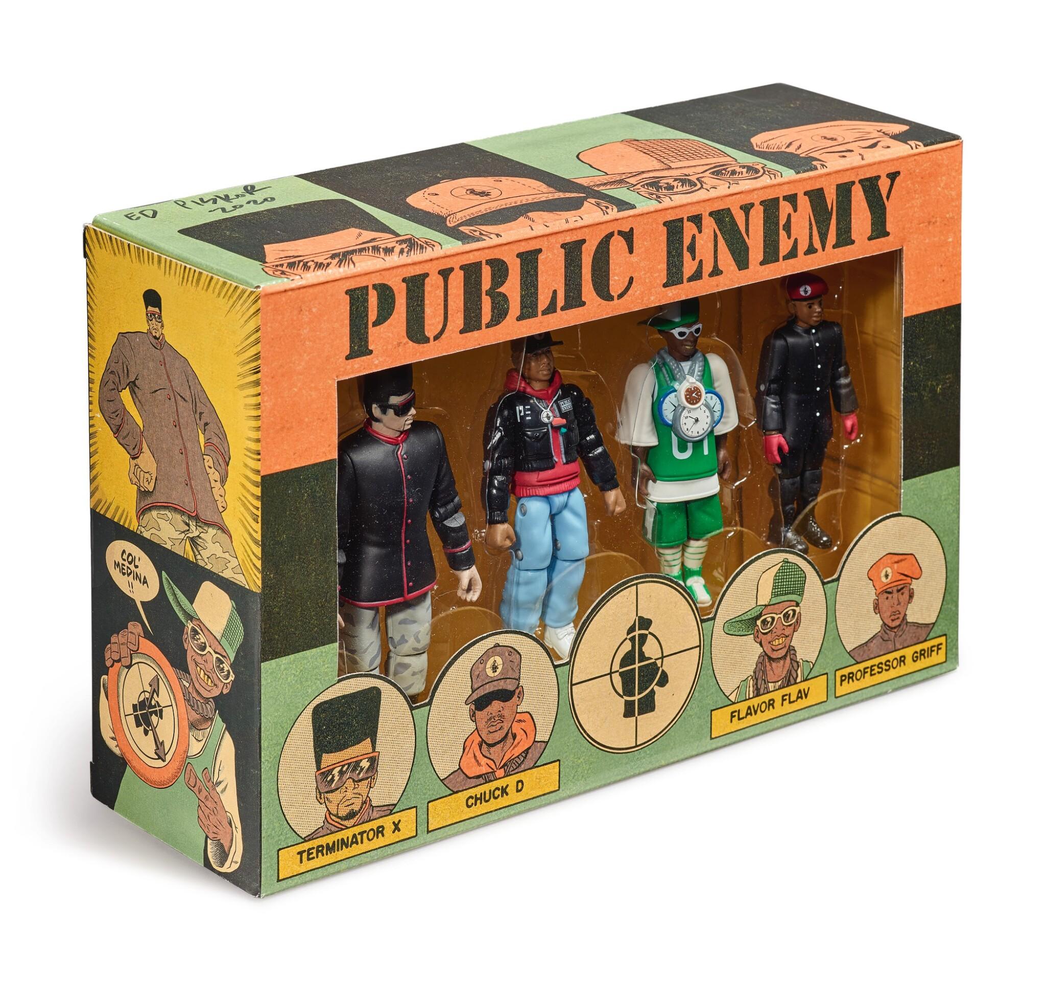 View full screen - View 1 of Lot 41. ED PISKOR | Original artwork & designs for Public Enemy action figures, w/ original set of action figures.