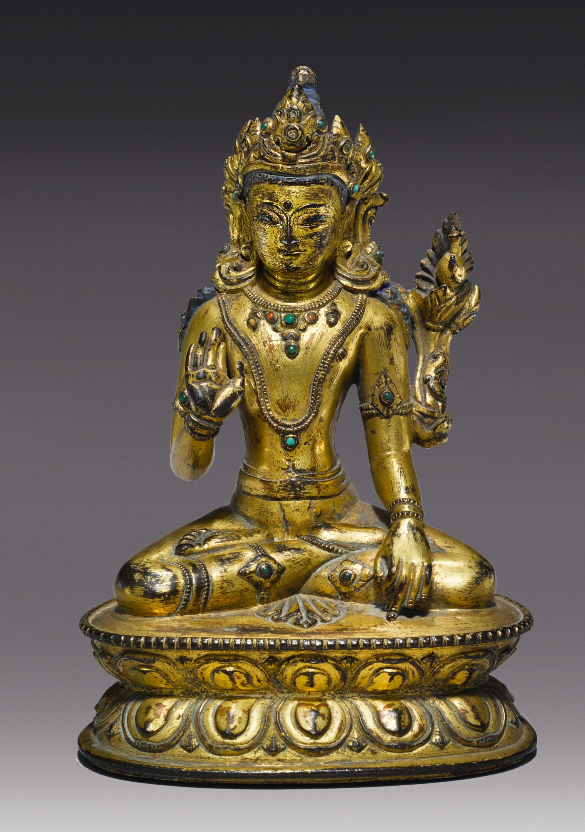 View full screen - View 1 of Lot 323. A GILT COPPER ALLOY FIGURE OF MAITREYA,  TIBET 14TH/15TH CENTURY.
