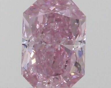 A 0.18 Carat Fancy Intense Purplish Pink Cut-Cornered Rectangular Modified Brilliant-Cut Diamond