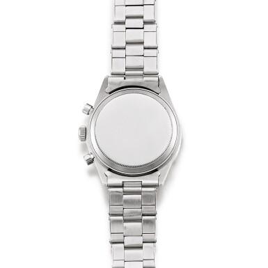 View 3. Thumbnail of Lot 2145. Rolex | Cosmograph Daytona, Reference 6239, A stainless steel chronograph wristwatch with Jumbo logo and bracelet, Circa 1971 | 勞力士 | Cosmograph Daytona 型號6239    精鋼計時鏈帶腕錶,備Jumbo標誌,約1971年製.