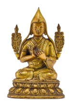 A GILT-BRONZE FIGURE OF TSONGKHAPA, QING DYNASTY, 18TH CENTURY |  清十八世紀 鎏金銅宗喀巴坐像