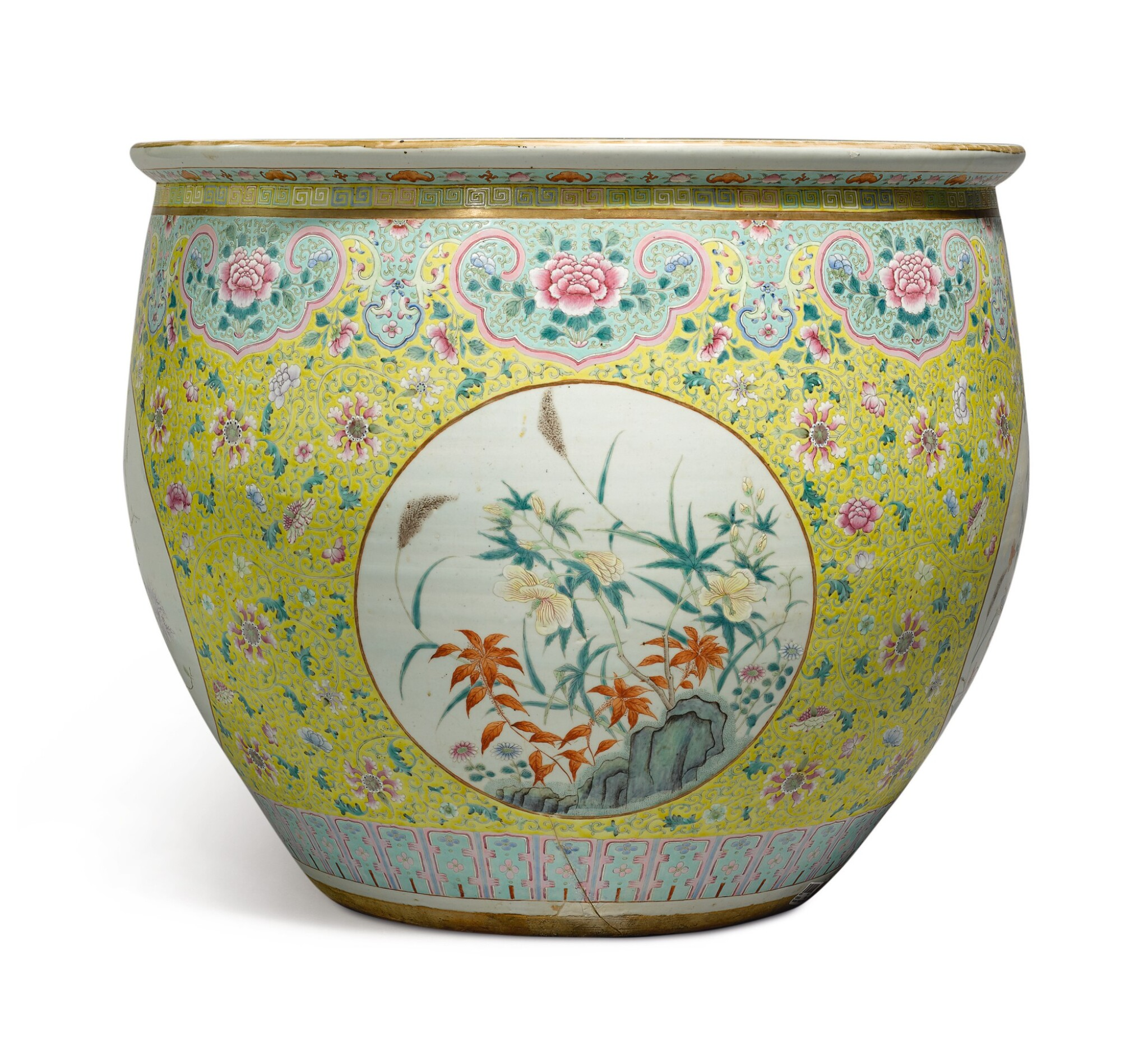 View 1 of Lot 1156. A VERY LARGE YELLOW-GROUND FAMILLE-ROSE FISHBOWL, 19TH / 20TH CENTURY.