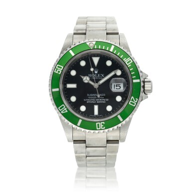 View 1. Thumbnail of Lot 203. Reference 16610 Submariner 'Kermit'   A stainless steel automatic wristwatch with date and bracelet, Circa 2006.