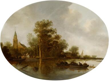 FRANS DE HULST | A river landscape with fishermen and a church in the background