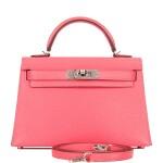 Hermès Rose Lipstick Chevre Mysore Kelly 20cm Palladium Hardware