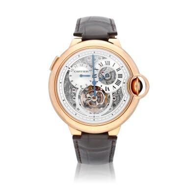 View 1. Thumbnail of Lot 13. Ballon Bleu, Ref. 3326 Limited edition pink gold tourbillon wristwatch with dual time indication Circa 2009.