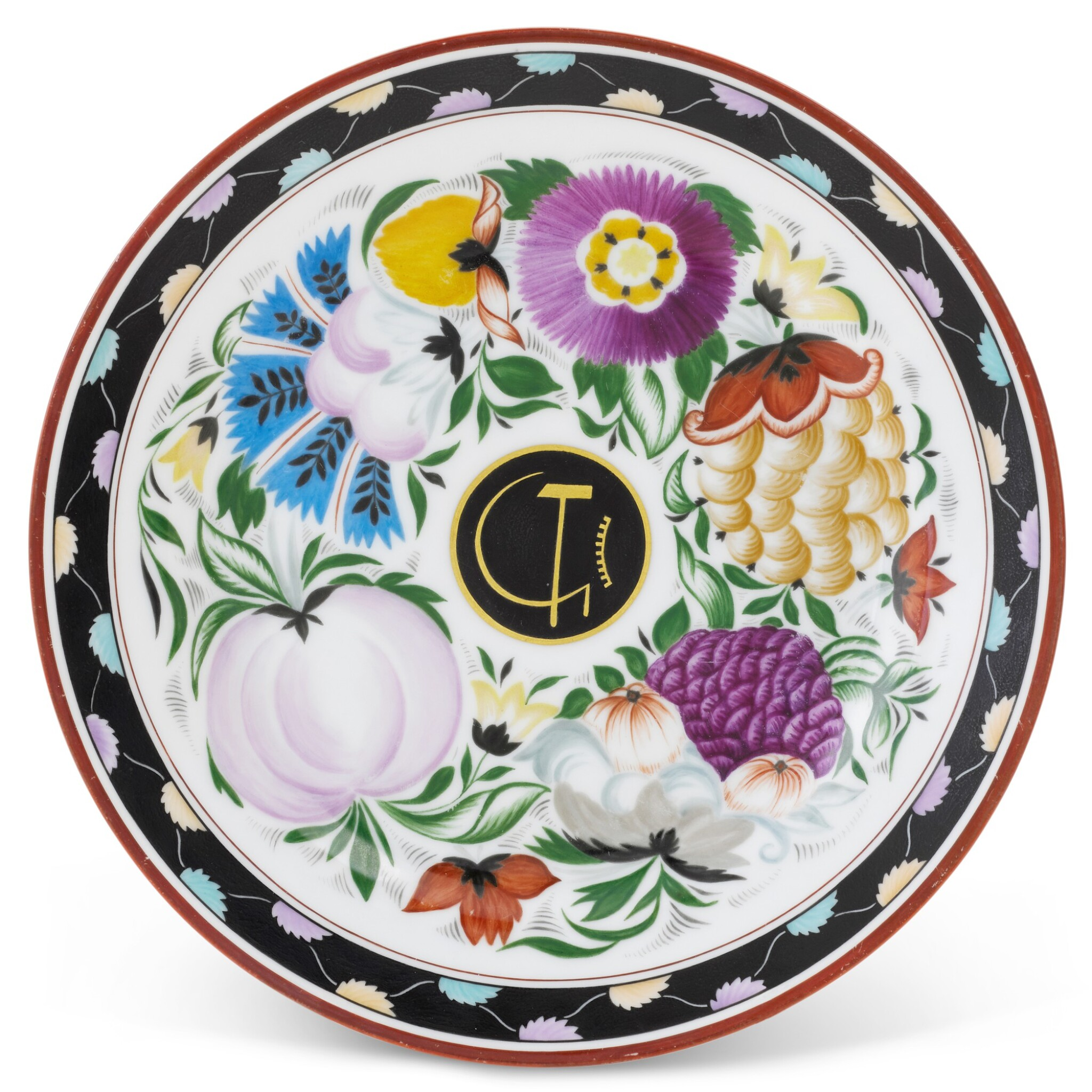 View full screen - View 1 of Lot 154. Flowers and Fruits: A Soviet porcelain propaganda plate, State Porcelain Factory, Petrograd, 1921.