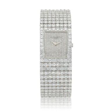 View 1. Thumbnail of Lot 60. Kalla, Ref. 35704-707G White gold and diamond-set bracelet watch Made in 1990 | 江詩丹頓35704-707G型號「Kalla」白金鑲鑽石鍊帶腕錶,1990年製.