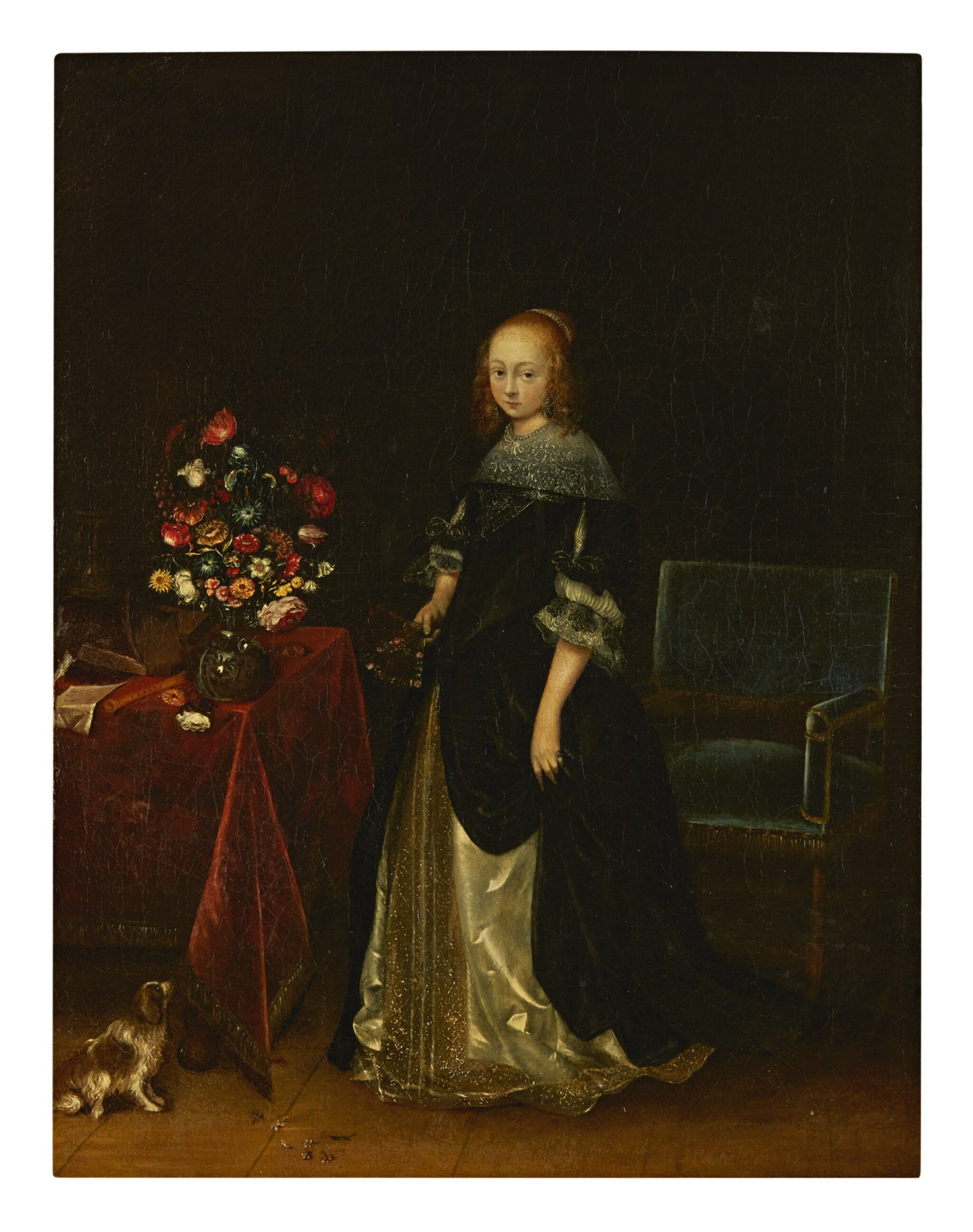 View full screen - View 1 of Lot 4. FOLLOWER OF GERARD TER BORCH | PORTRAIT OF A YOUNG WOMAN, FULL-LENGTH, STANDING AT A TABLE, WITH A DOG.