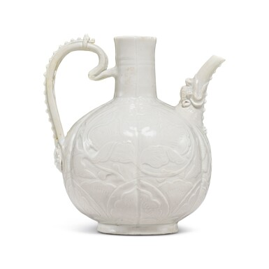 View 3. Thumbnail of Lot 185. A finely carved and molded 'Ding' ewer, Northern Song dynasty | 北宋 定窰白釉牡丹紋執壺.