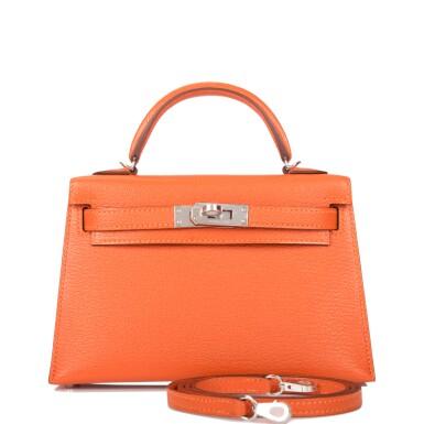 Hermès Feu Verso Sellier Kelly 20cm of Chevre Leather with Palladium Hardware