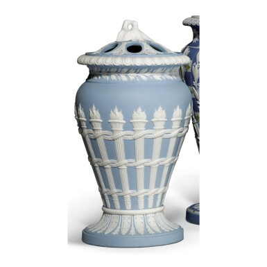 A WEDGWOOD BLUE AND WHITE JASPERWARE VASE AND PIERCED COVER CIRCA 1800