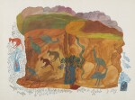 UNTITLED (LANDSCAPE WITH SNAKES, EMUS AND OTHER BIRDS, WALLABIES AND A GOANNA), CIRCA 1965