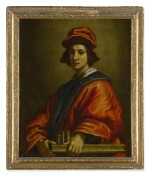 Sold Without Reserve | FRANCESCO CURRADI  |  PORTRAIT OF A YOUNG MAN, POSSIBLY AN ARCHITECT, HALF LENGTH, WEARING A RED HAT AND ROBE