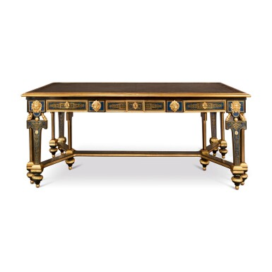 View 1. Thumbnail of Lot 676. A LOUIS XIV STYLE GILT-BRONXE MOUNTED AND BRASS-INLAID EBONY AND BLUE-STAINED HORN BOULLE MARQUETRY LIBRARY TABLE, LATE 19TH/EARLY 20TH CENTURY.