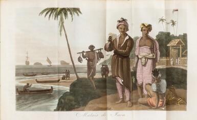 View 1. Thumbnail of Lot 30. WALCKANAER. Le Monde maritime...Nepveu, 1818. 3 vol. in-16, basane brune ornée de l'époque. .