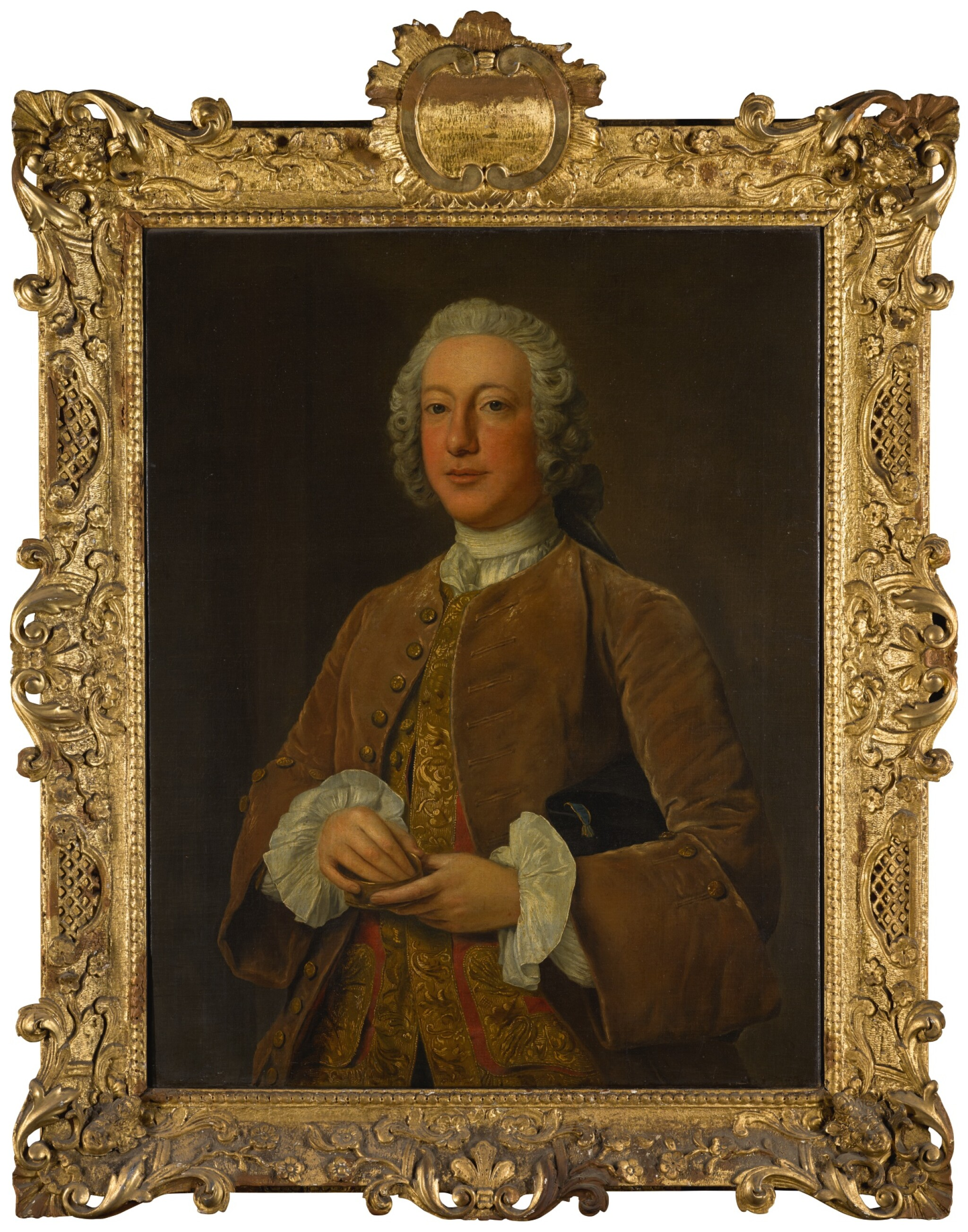 View full screen - View 1 of Lot 53. STEPHEN SLAUGHTER | PORTRAIT OF WILLIAM GRAHAM OF PLATTEN HALL, COUNTY MEATH, THREE-QUARTER-LENGTH, HOLDING A SNUFF BOX.