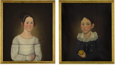 JOHN BREWSTER JR. | PAIR OF PORTRAITS: JUNIA LORETTA BARTLETT AND LEVI STEVENS BARTLETT OF KINGSTON, NEW HAMPSHIRE