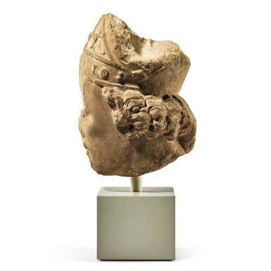 View 4. Thumbnail of Lot 2010. A fragmentary medieval French limestone head of a bishop 14th century   十四世紀 法國石灰岩雕戴冠主教頭像殘件.
