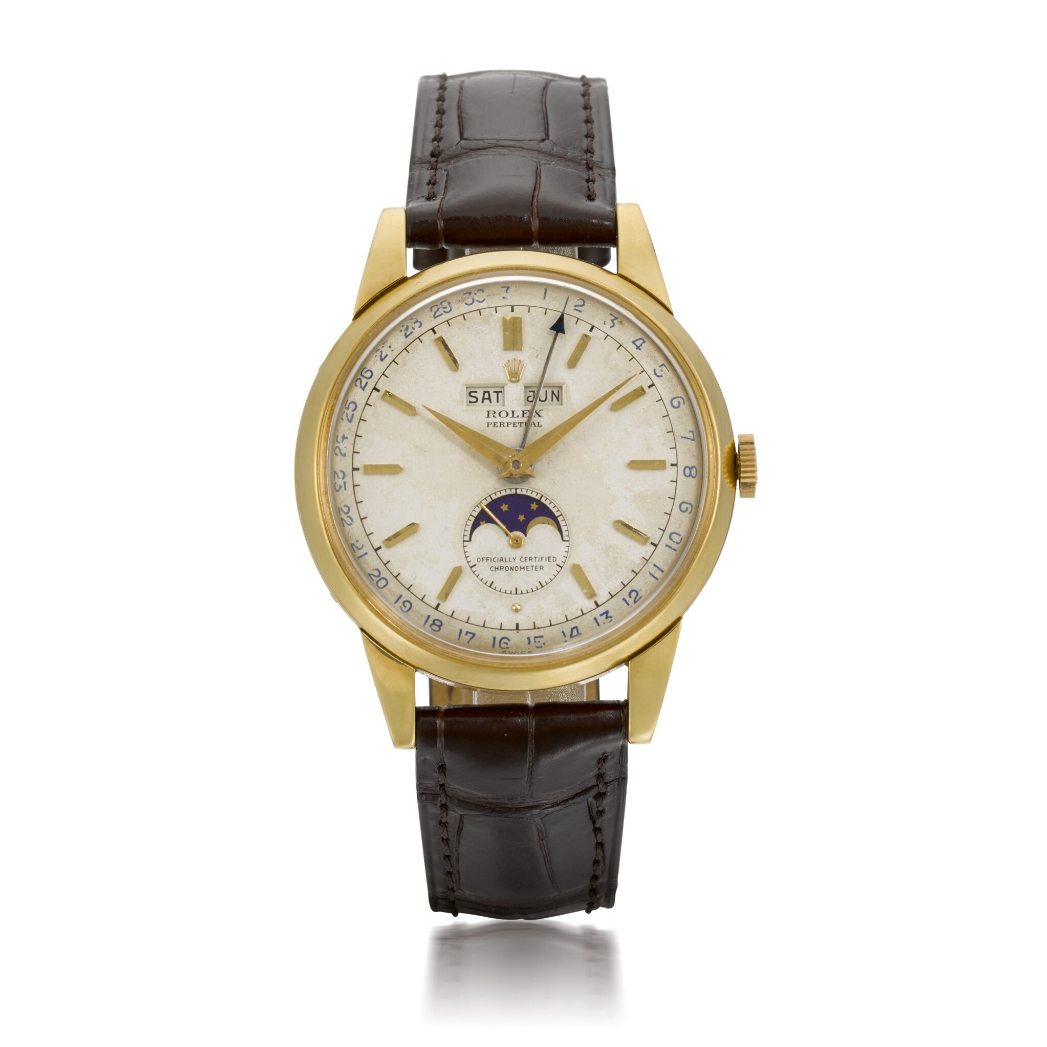 View full screen - View 1 of Lot 366. ROLEX   PADELLONE, REF 8171, YELLOW GOLD WRISTWATCH WITH DAY, DATE, MONTH AND MOONPHASE, CIRCA 1952.