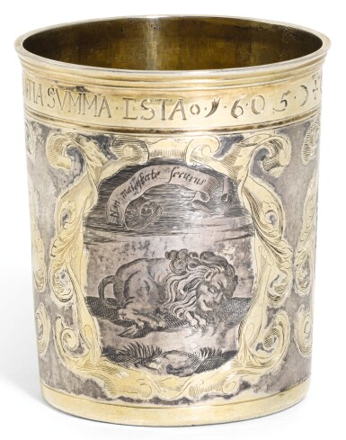 A GERMAN PARCEL-GILT SILVER BEAKER, UNMARKED, POSSIBLY HAMBURG, CIRCA 1690