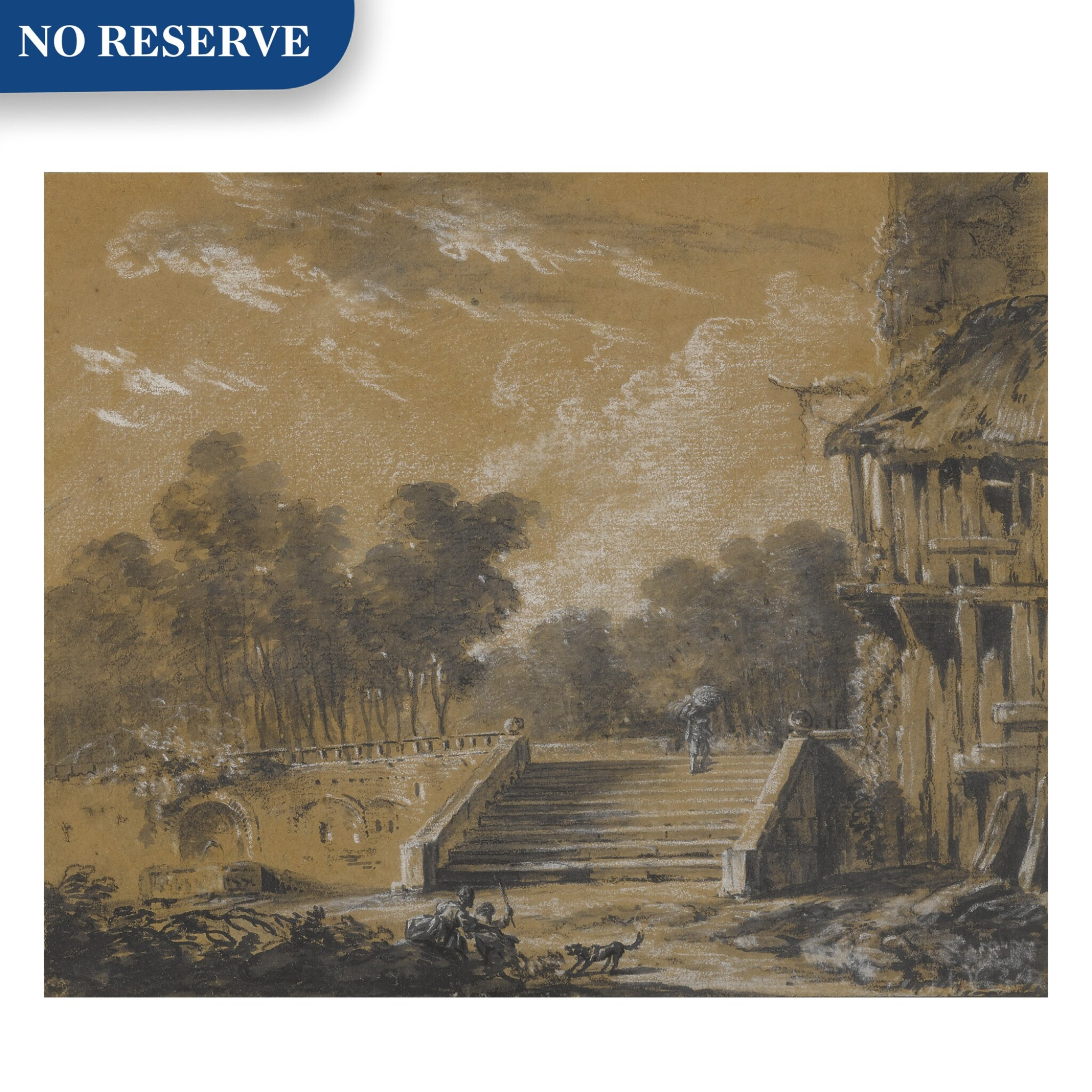 View full screen - View 1 of Lot 154. A landscape with a figure ascending stairs.